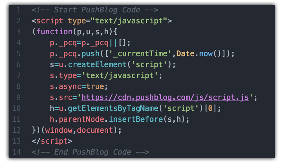 Insert PushBlog Smart Code